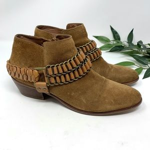 Sam Edelman Posey Ankle Boot Camel Suede Leather 8